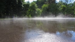 water evaporation on a pond